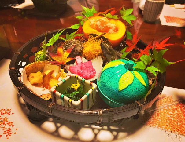 Gorgeous Japanese traditional meal with autumn flavors