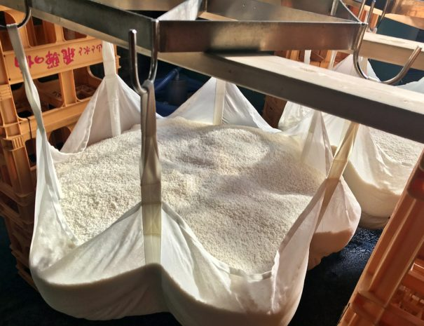 Steamed rice in the white bag