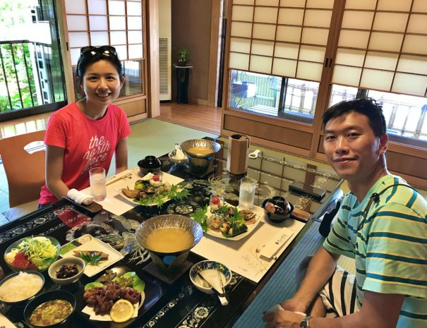 Hong Kong couple smiling in front of the Japanese traditional Kaiseki lunch