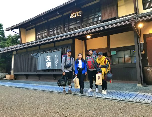 UK guests in front of the traditional sake brewery in Gero