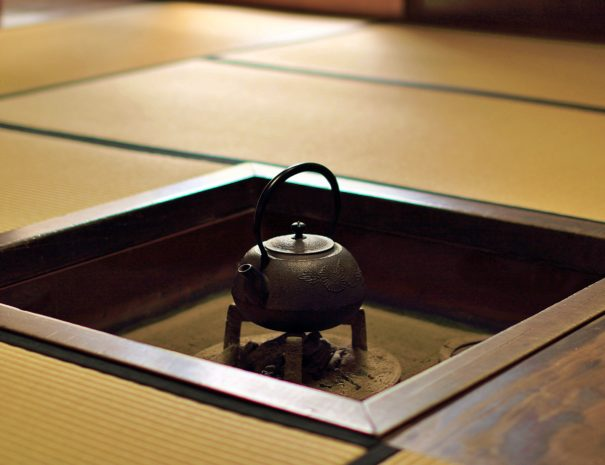 A traditional Japanese kettle on the Irori