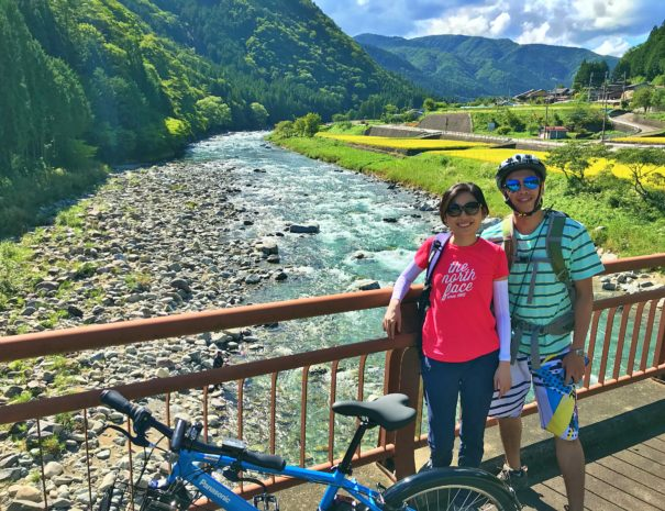 Hong Kong tourists enjoying the scenery of countryside in Takayama area