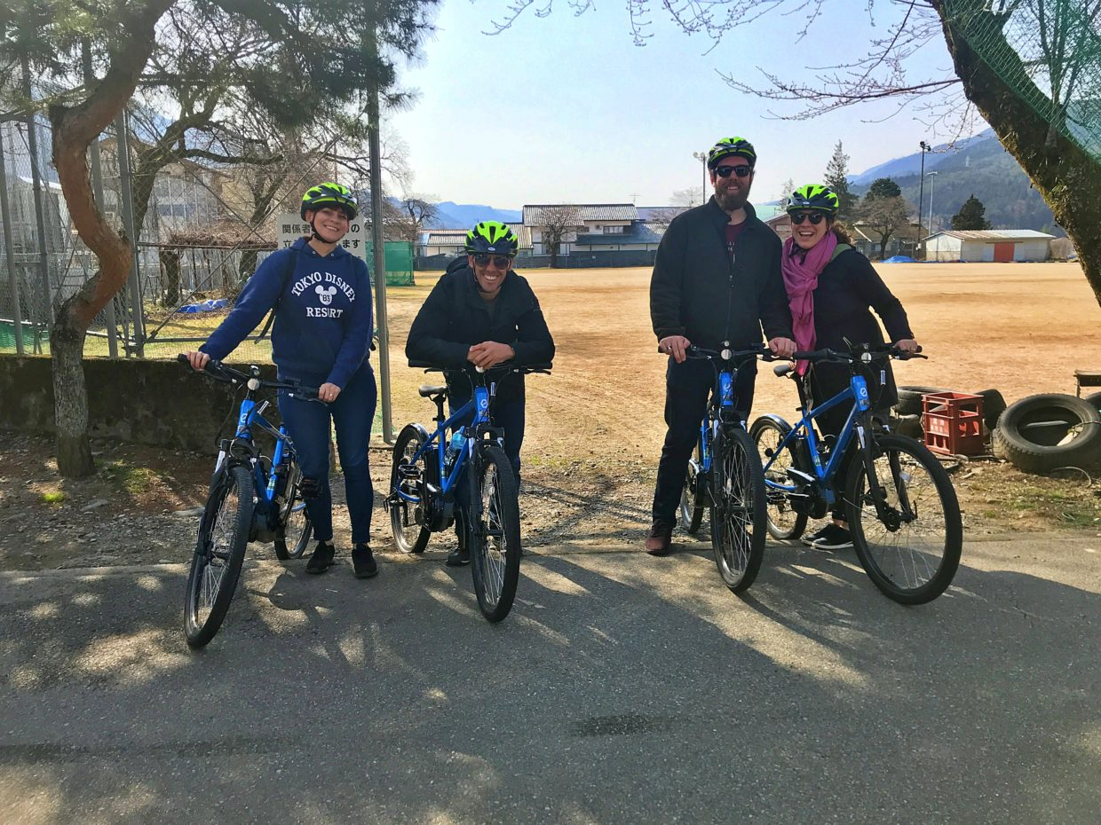 Cycling guests before tour starts