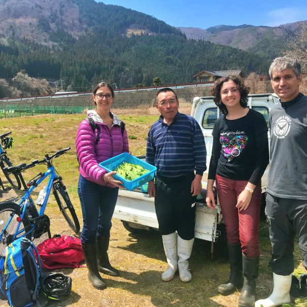 Spanish family helping Japanese farm