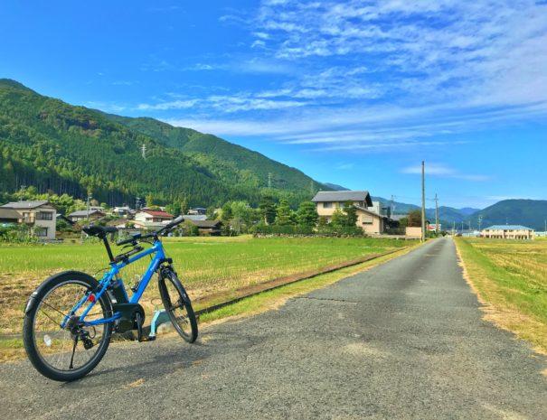 田んぼの畦道と電動自転車